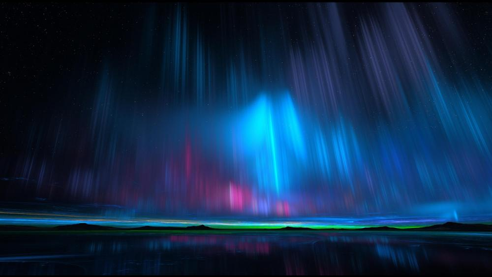 Blue Aurora Borealis wallpaper
