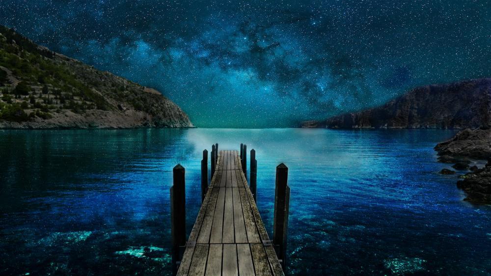 midnight lake wallpaper
