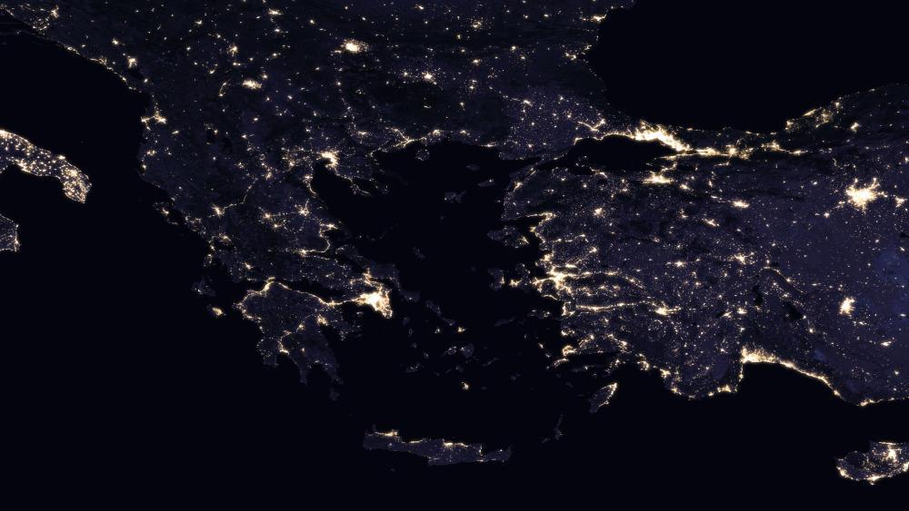 Night Lights of Greece & Turkey wallpaper