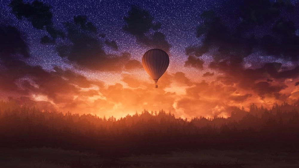 Air Balloon in Sunset wallpaper