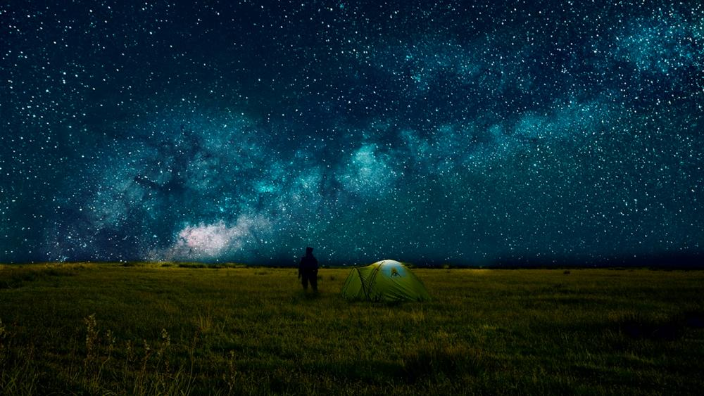 Milky way over the meadow wallpaper