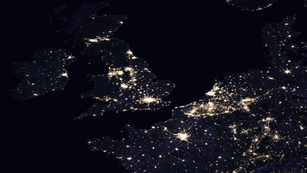 Night Lights of the U.K., Ireland, France, Belgium & the Netherlands 2016 wallpaper