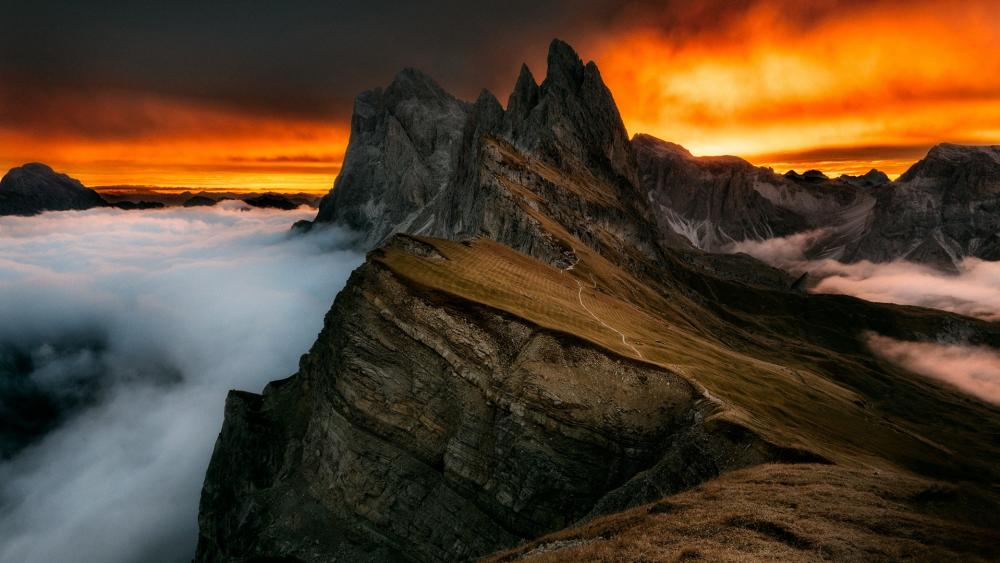 Odle Dolomites Mountain Range wallpaper