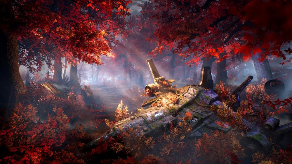 Plummeted Plane In The Forest Digital Art wallpaper