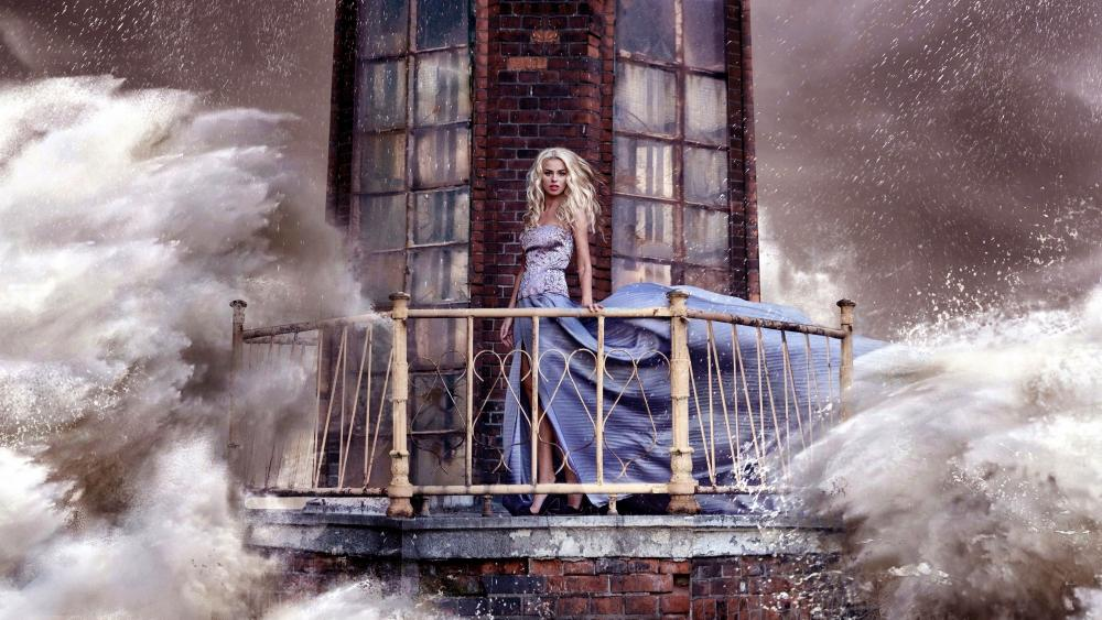 Storm At The Lighthouse Digital Art wallpaper