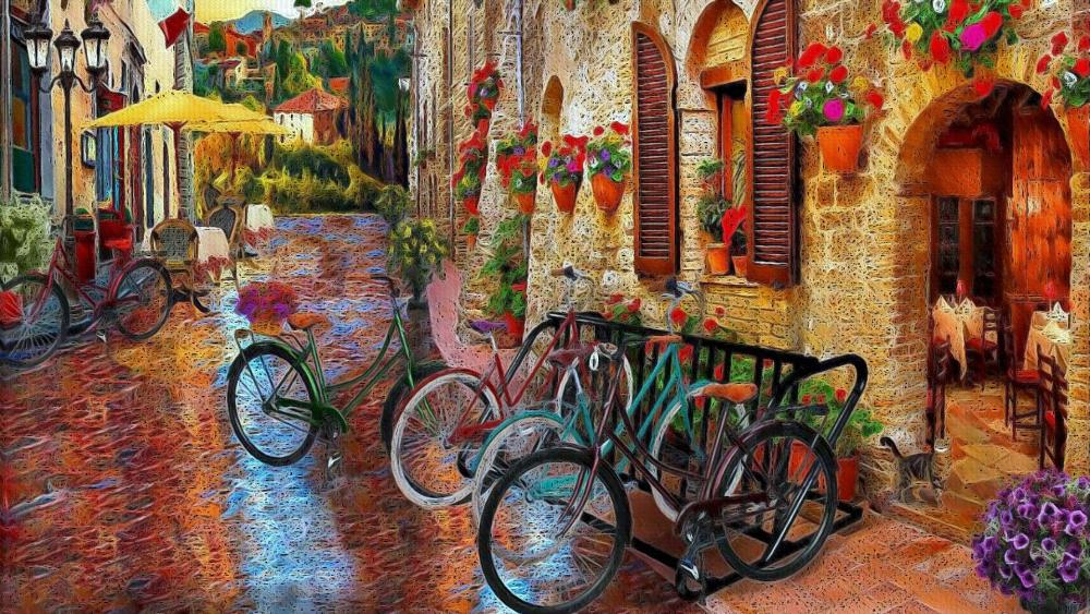 Biking Tuscany Artistic Drawing wallpaper