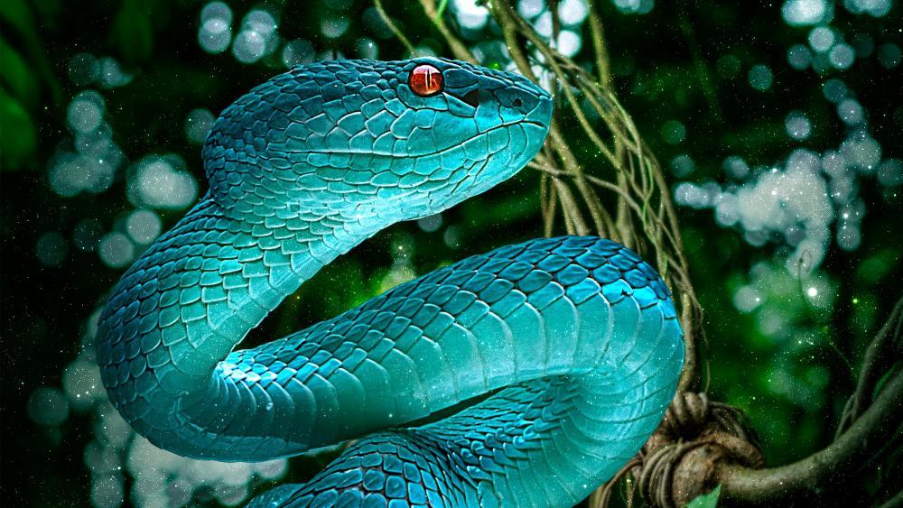 Blue snake wallpaper