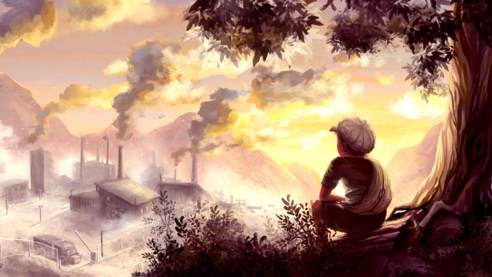 Looking At Factory Chimneys wallpaper
