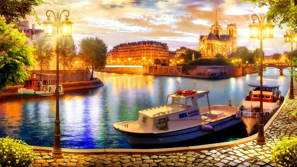 Island of Notre Dame Cathedral wallpaper