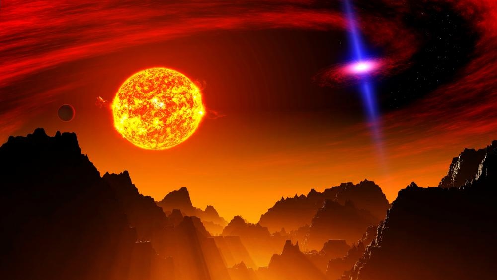 The Sun In Space Landscape wallpaper