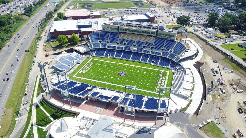 Aerial of Tom Benson Hall of Fame Stadium wallpaper