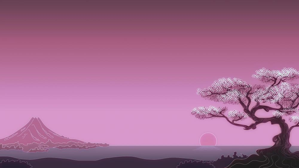 Sakura blossom japanese art wallpaper