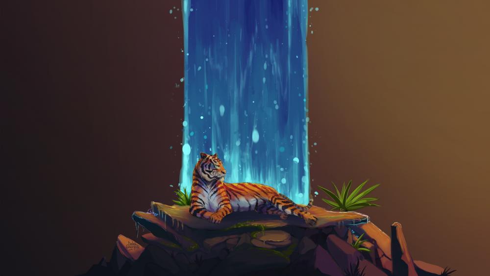 Tiger Waterfall Art wallpaper