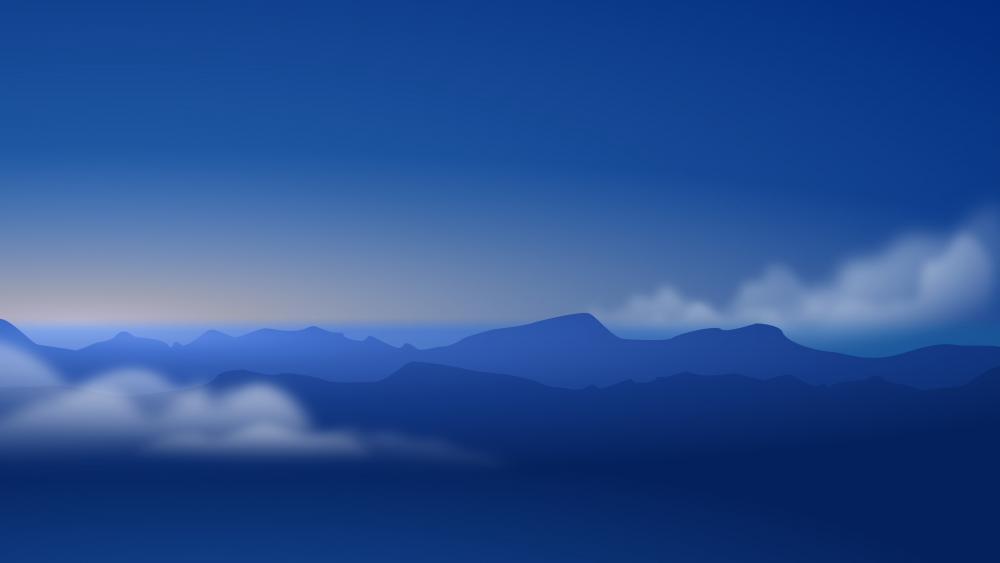 Blue hour landscape digital art wallpaper