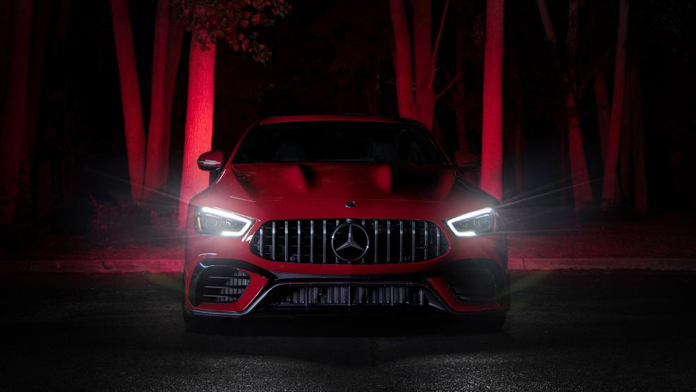 Red Mercedes-AMG GT63 S in the night forest wallpaper