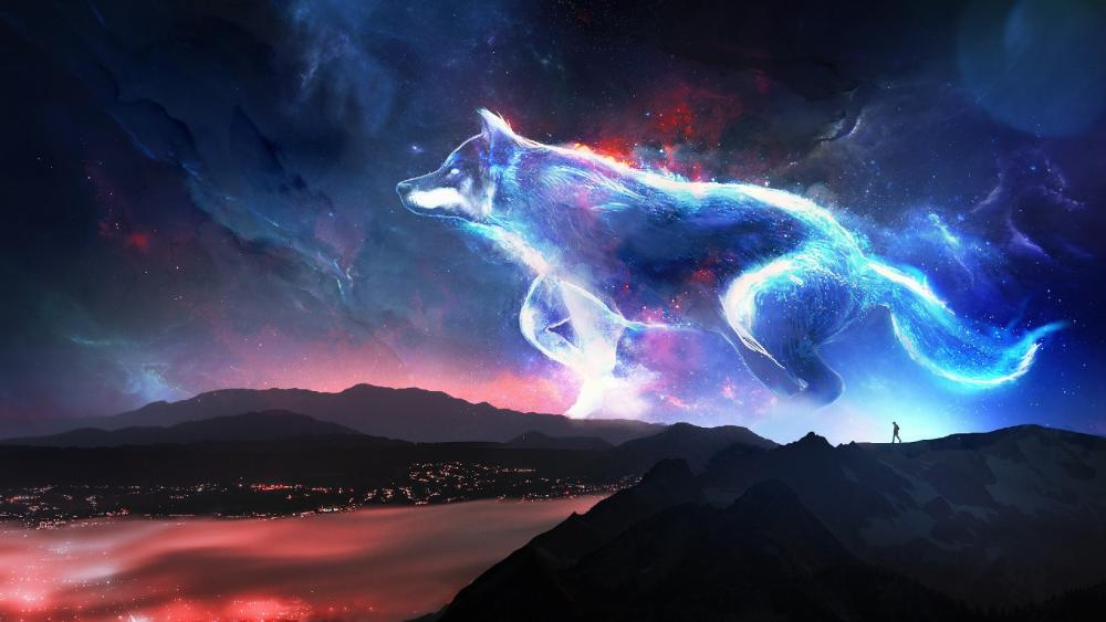 Fantasy wolf on the night sky wallpaper