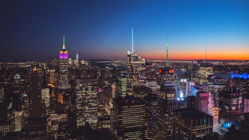 New York City Lights at Night wallpaper