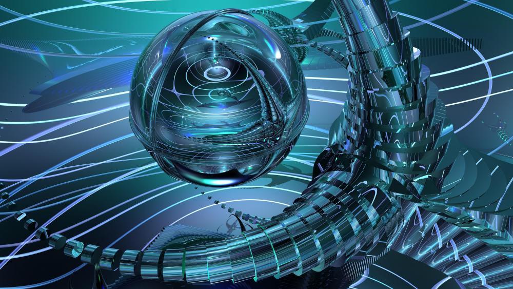 Blue fractal digital art wallpaper