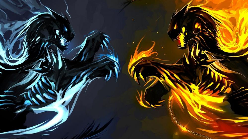 Ice and Fire Dragons wallpaper