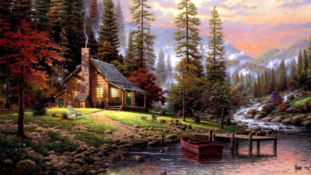 Chalet Painting wallpaper