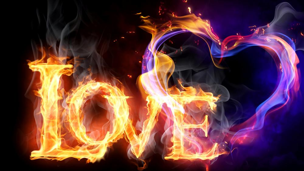 Heart In Love Flames wallpaper