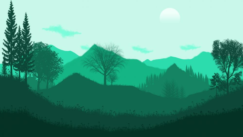 Green Flat Landscape wallpaper