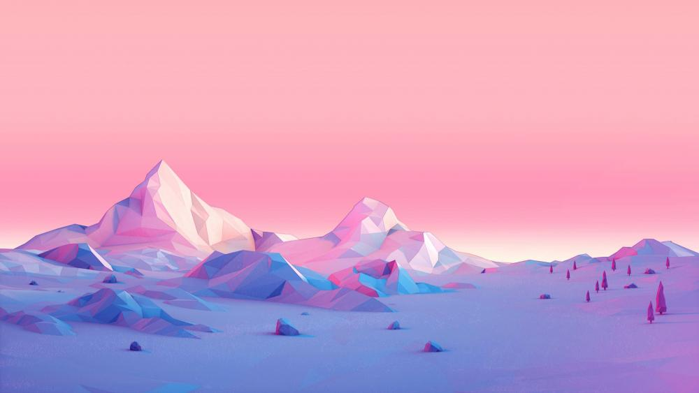 Pink low-poly landscape wallpaper