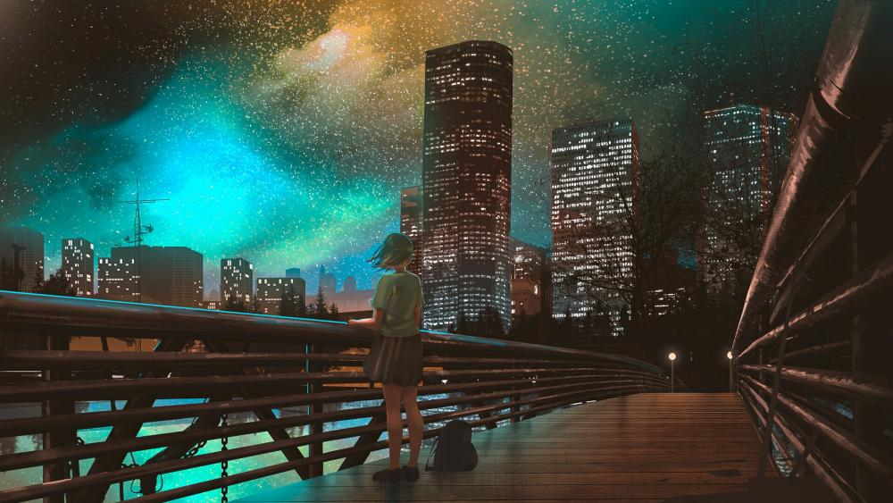 Lone girl in the night city anime art wallpaper