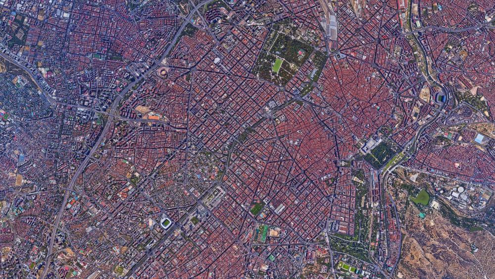 Madrid Cityscape Satellite Imagery wallpaper