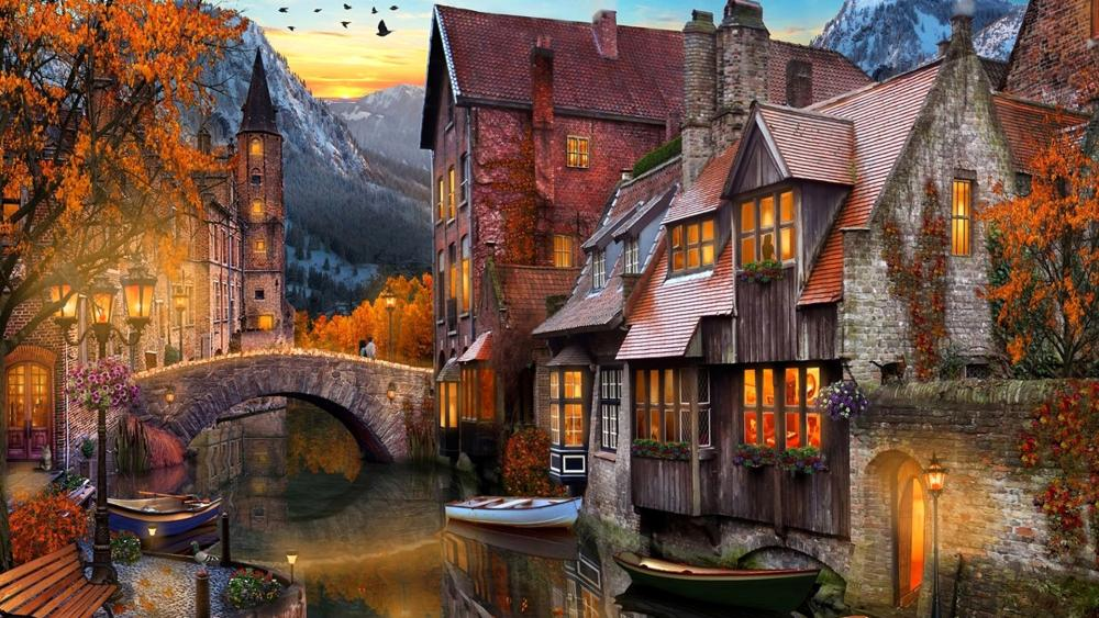 Home On The Creek Painting wallpaper