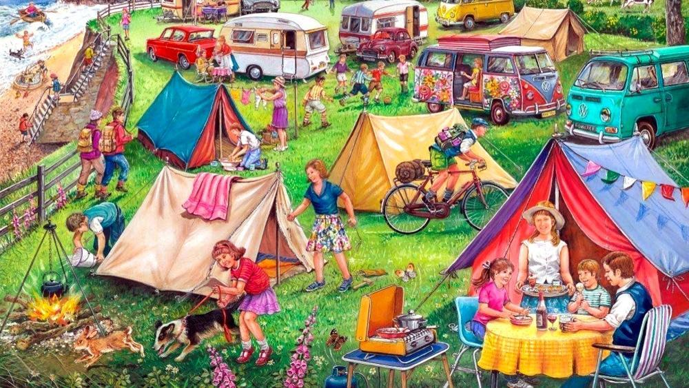 Camping Painting wallpaper