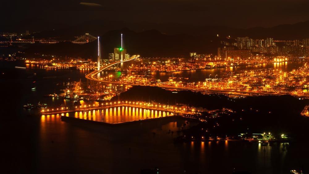 Hong Kong Harbour from the International Commerce Center Building wallpaper