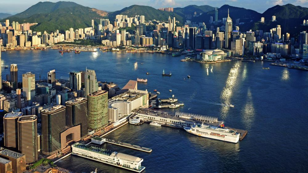 Sky 100's View of Hong Kong Island wallpaper