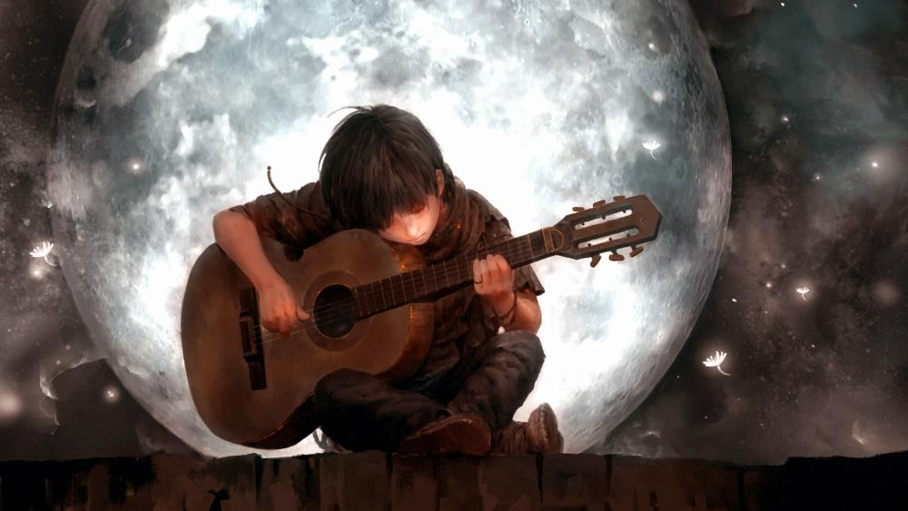 Anime boy playing guitar wallpaper