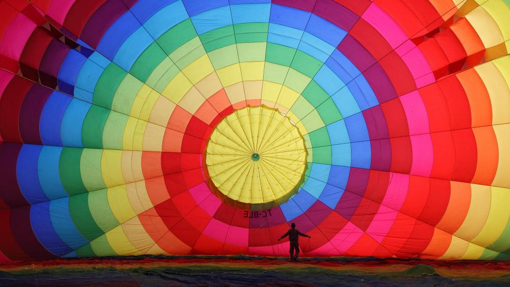 A Hot Air Balloon Inflation Viewed from Inside wallpaper