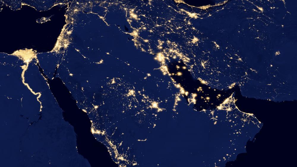 Night Lights of the Nile River Delta, the Levant, Iran & the Arabian Peninsula v2012 wallpaper
