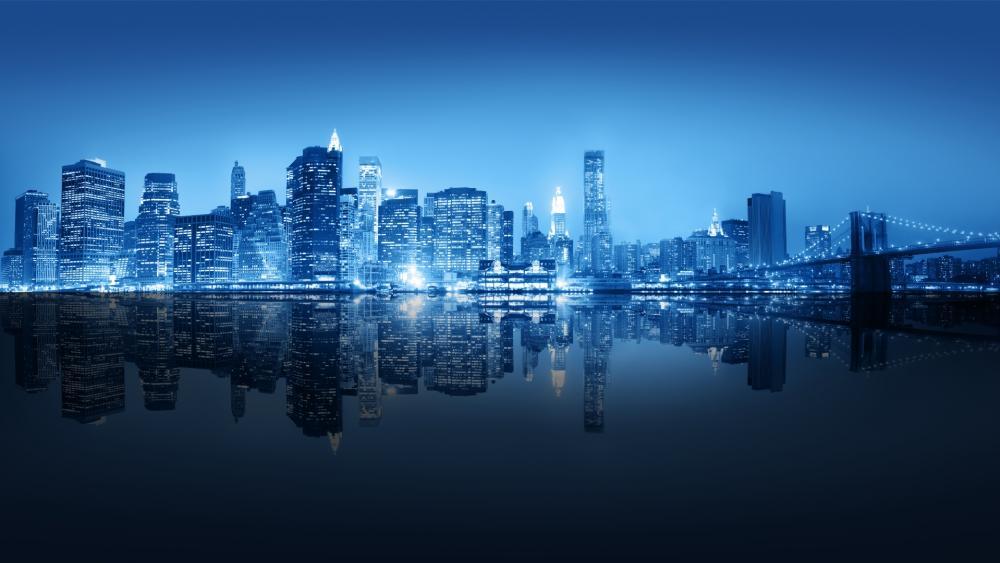 New York reflection wallpaper