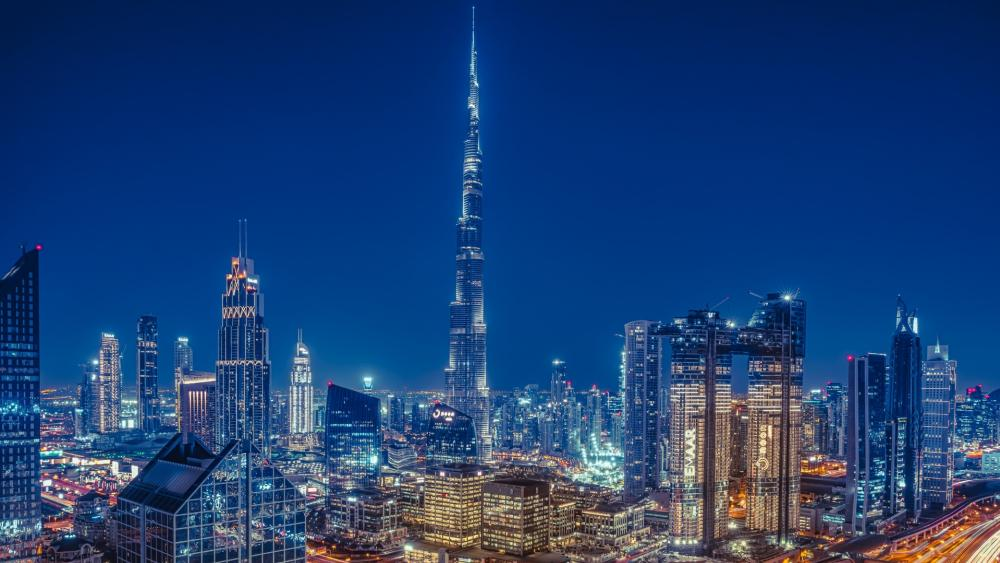 Burj Khalifa at night wallpaper