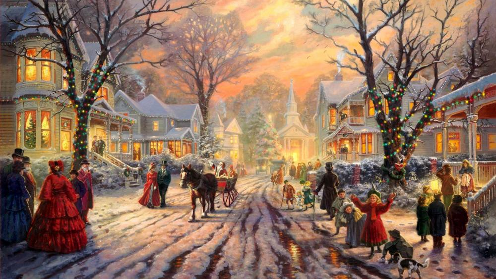 A Victorian Christmas Painting wallpaper