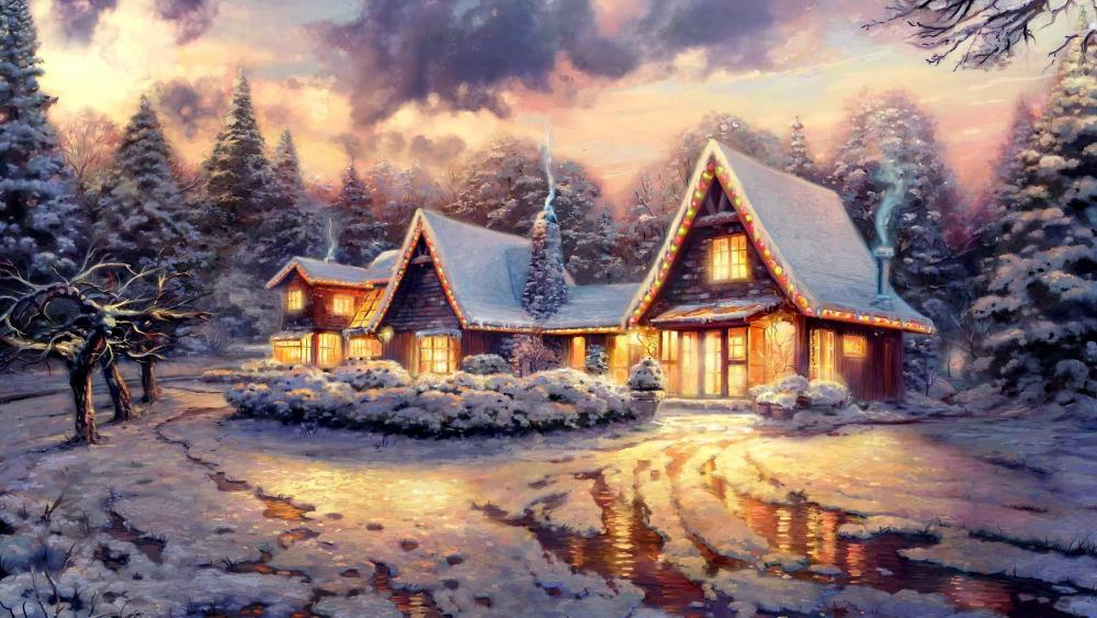 Winter Landscape Painting wallpaper