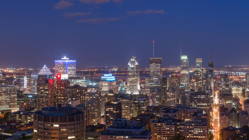 Downtown Montréal at Night wallpaper