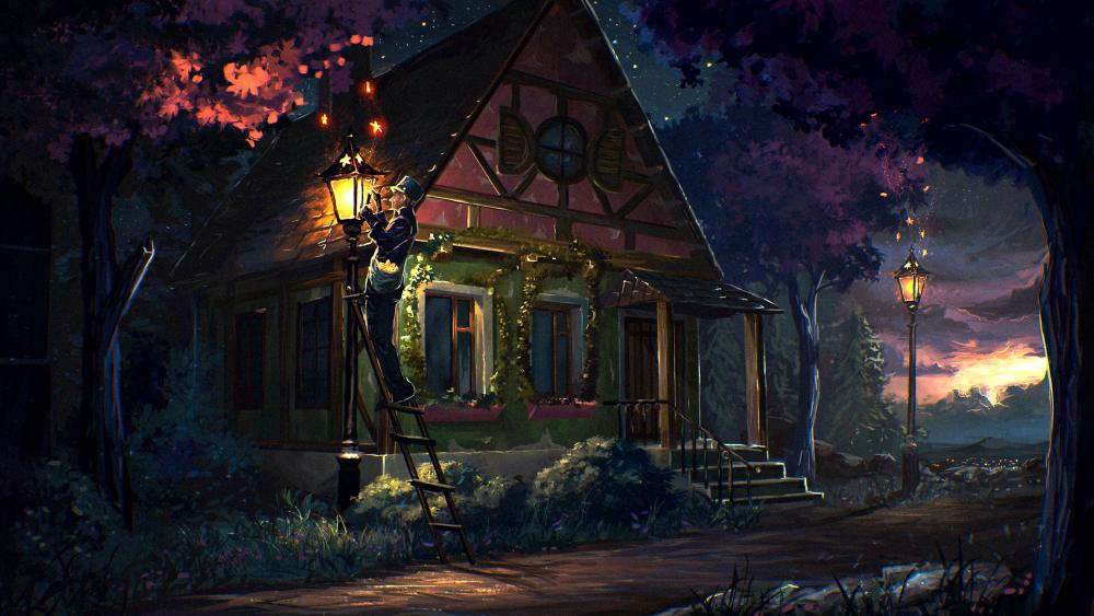 House Fairy Tale Art Light Night wallpaper