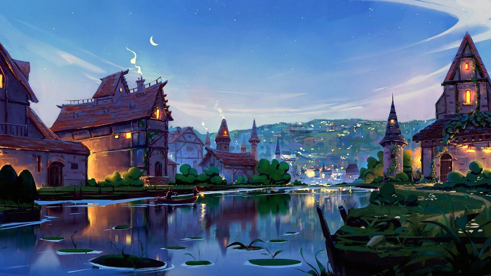 River dreamland town wallpaper