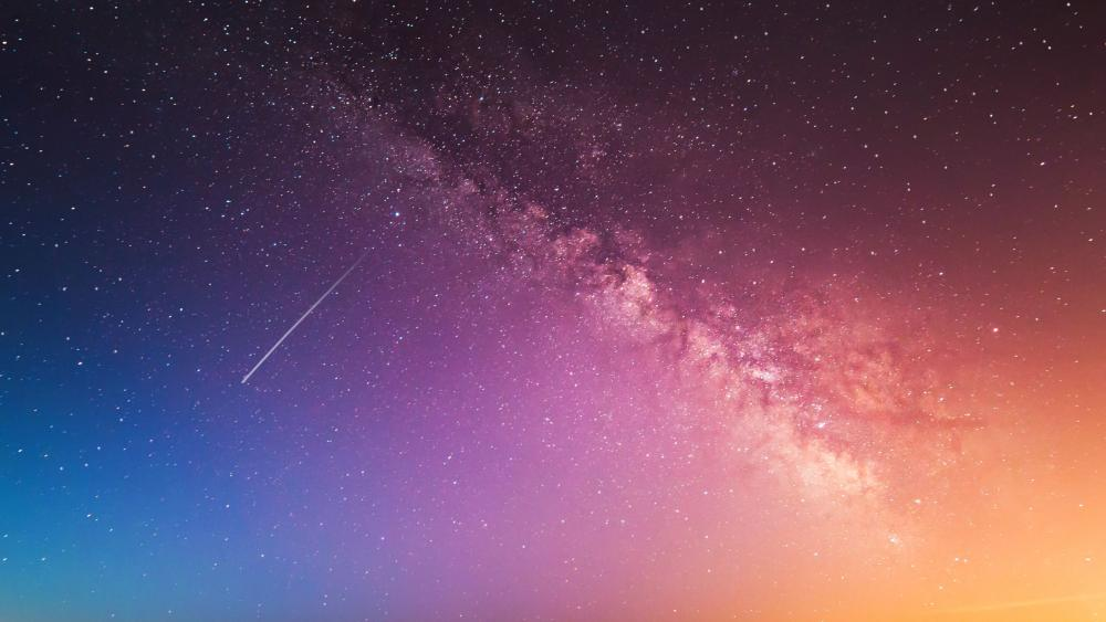 Milky way and s shooting star wallpaper