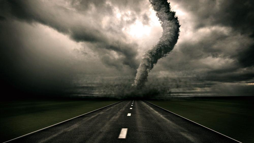 Storm on road wallpaper