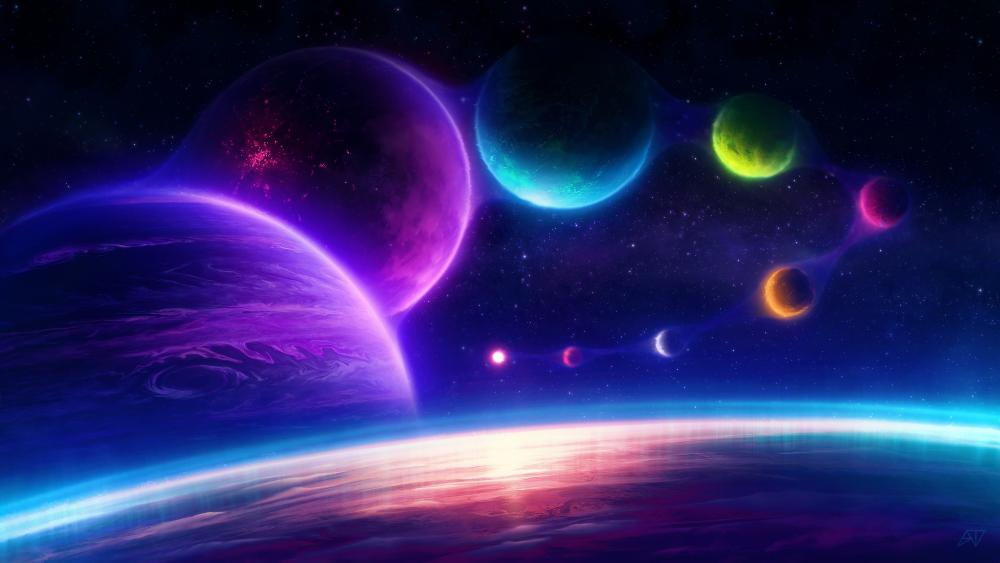 Fantasy Universe with glowing planets wallpaper