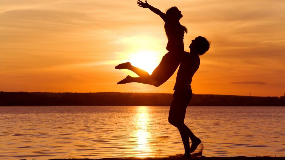 pair feelings freedom tenderness support  sunset romance relations wallpaper