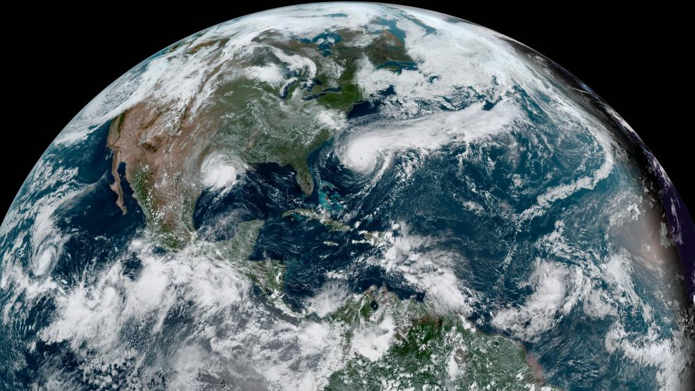 Storms in the Eastern Pacific & North Atlantic wallpaper