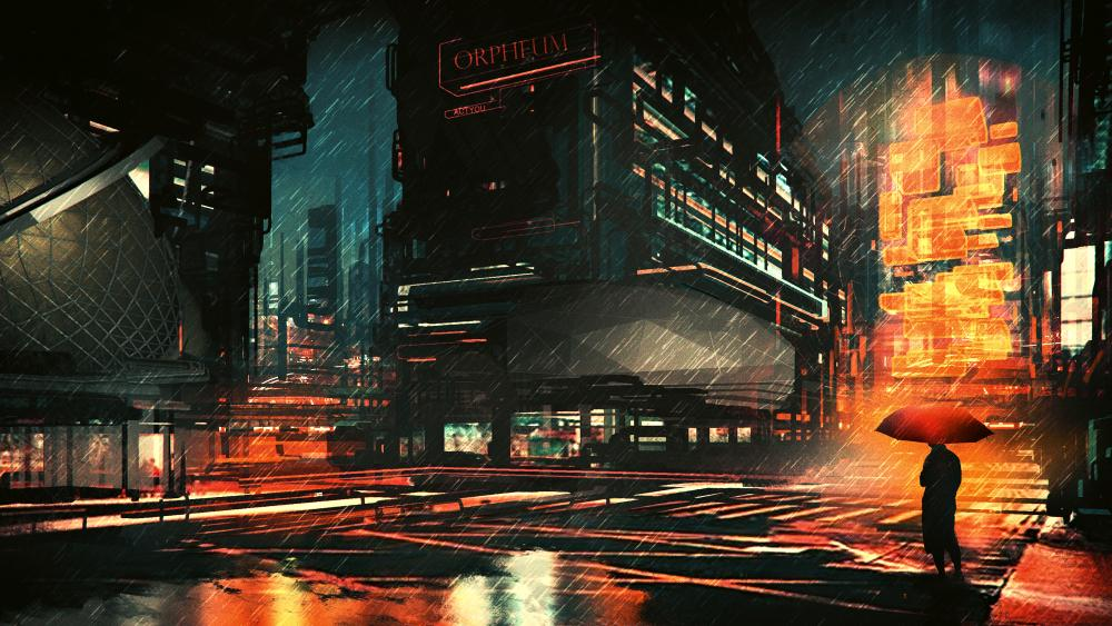 Rainy night in the city fantasy art wallpaper