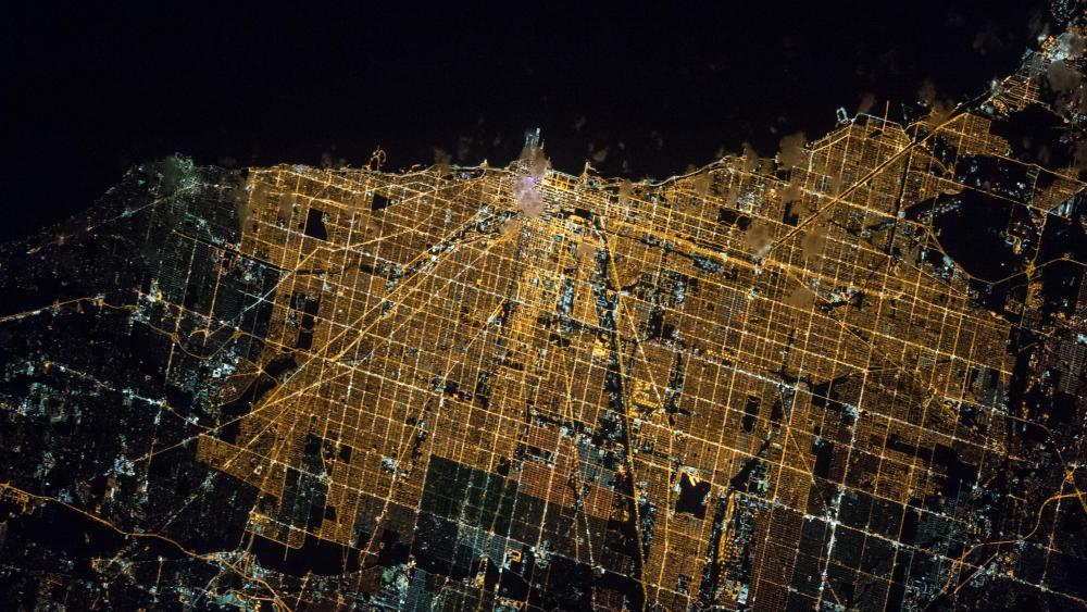 The Space Station's View of Chicago at Night wallpaper